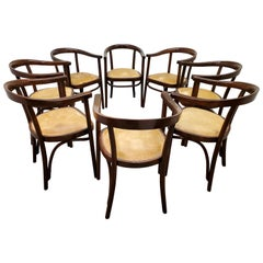 Set of Eight Original Austrian Bentwood Armchairs by Thonet