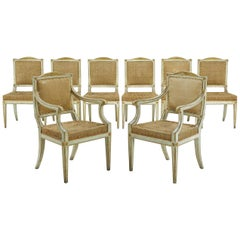 Set of Eight Painted 18th Century Italian Dining Chairs