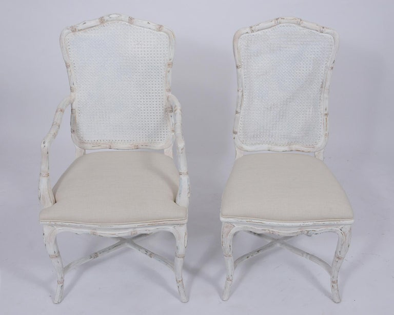 French Provincial Set of Eight Cane Dining Chairs For Sale