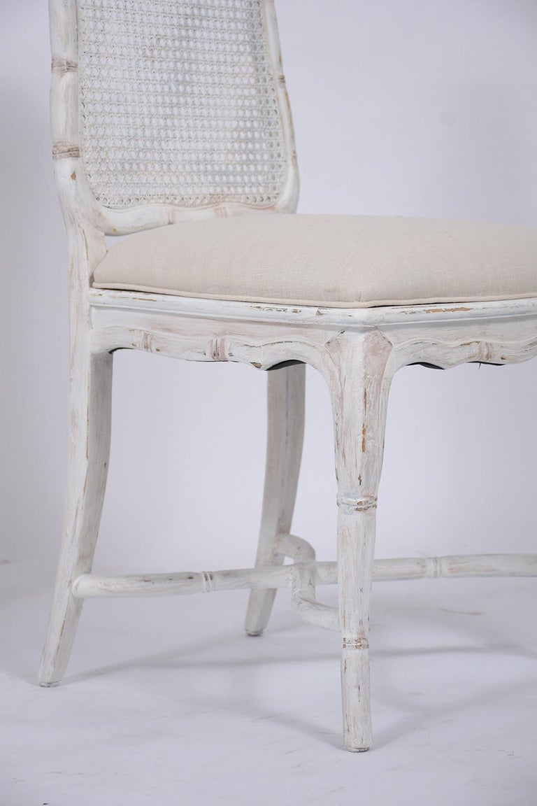 Mid-20th Century Set of Eight Cane Dining Chairs For Sale