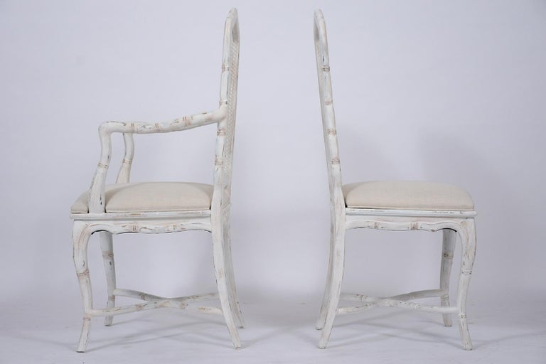 Upholstery Set of Eight Cane Dining Chairs For Sale