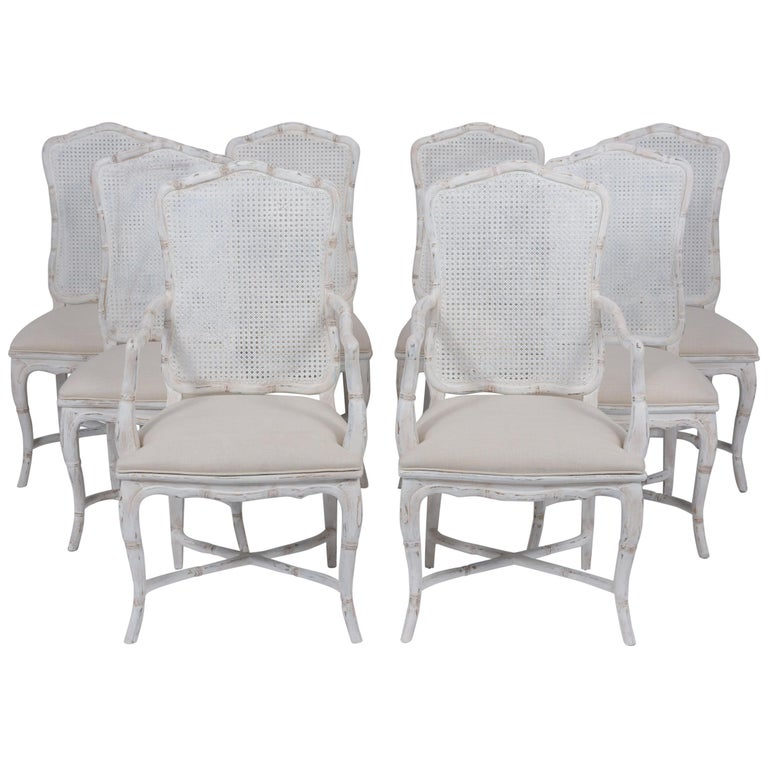 Set of Eight Cane Dining Chairs For Sale