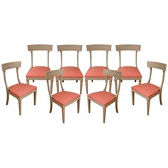 Set of Eight Painted Regency Style Side Chairs