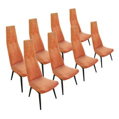 Set of Eight Pearsall High Back Dining Chairs for Craft Associates