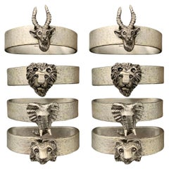 Set of Eight Pewter Safari Themed Napkin Rings