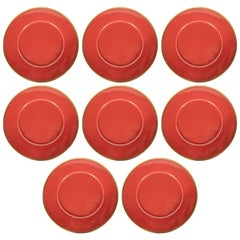 Set of Eight Porcelain Carnelian Charger Plates with 24-Karat Gold Rims