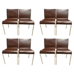 Set of Eight Potocco Italy Italian Brown Leather Dining Chairs