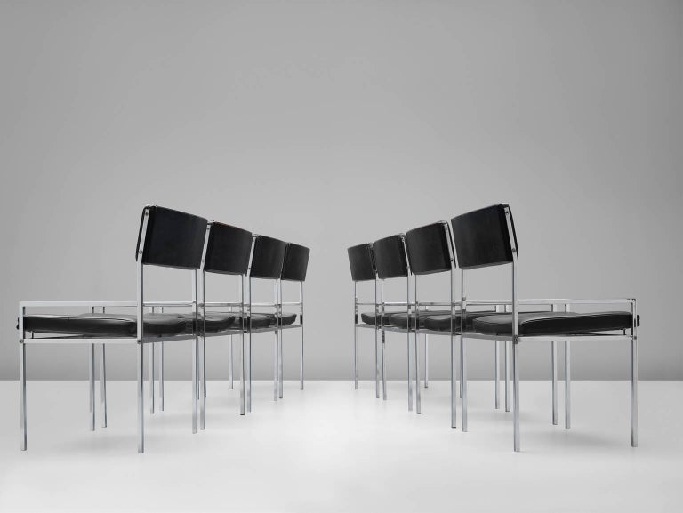 Set of eight armchairs designed by Poul Nørreklit for Georg Petersens, Denmark, 1960s.   This comfortable, steady set of eight dining chairs are designed by the Danish designer Poul Nørreklit. The chairs are built up with very straight lines. The