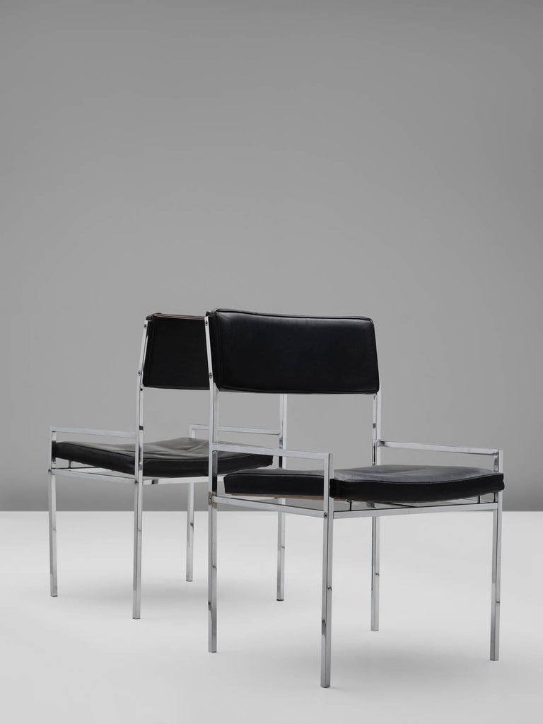 Set of Eight Poul Nørreklit Armchairs in Leather and Steel In Good Condition For Sale In Waalwijk, NL