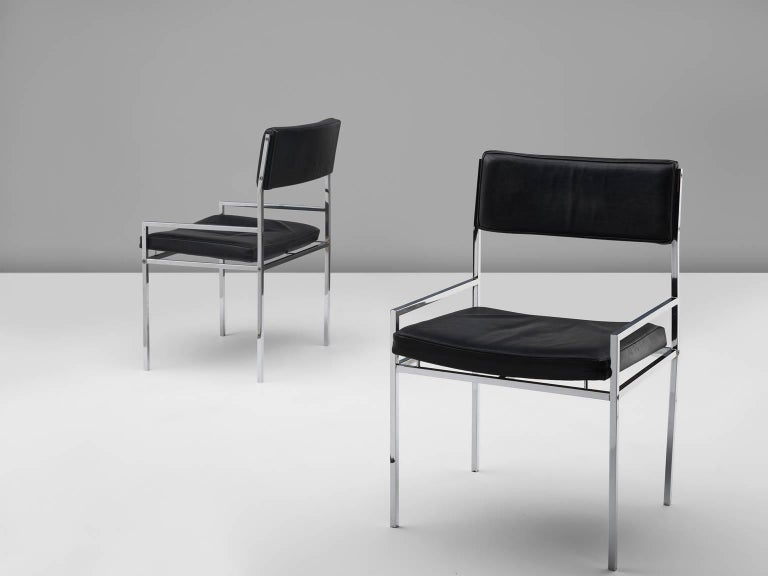 Set of Eight Poul Nørreklit Armchairs in Leather and Steel For Sale 1