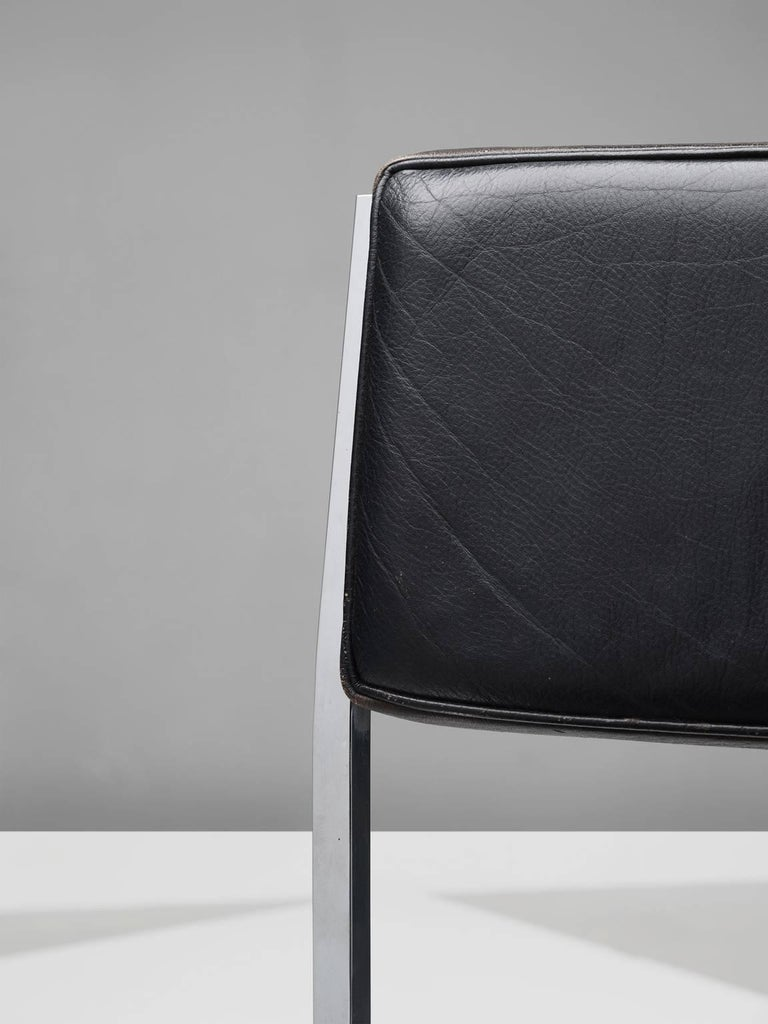 Set of Eight Poul Nørreklit Armchairs in Leather and Steel For Sale 2