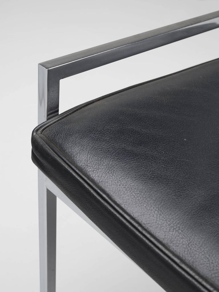 Set of Eight Poul Nørreklit Armchairs in Leather and Steel For Sale 3