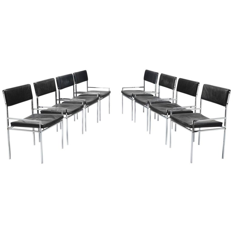 Set of Eight Poul Nørreklit Armchairs in Leather and Steel For Sale