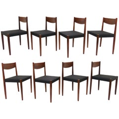 Set of Eight Poul Volther for Frem Rojle Danish Teak Dining Chairs, circa 1960s