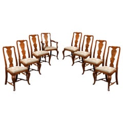 Set of Eight Queen Anne High Back Dining Chairs
