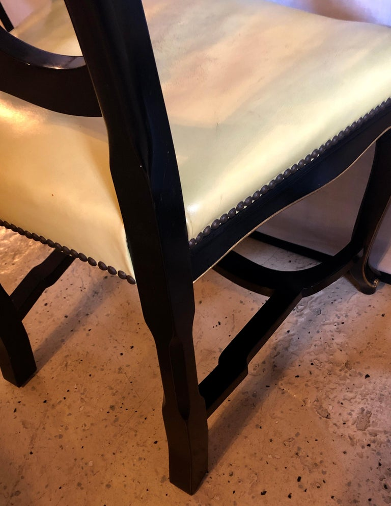 Set of Eight Queen Anne Style Ebonized and Gilt Decorated Dining Chairs For Sale 4