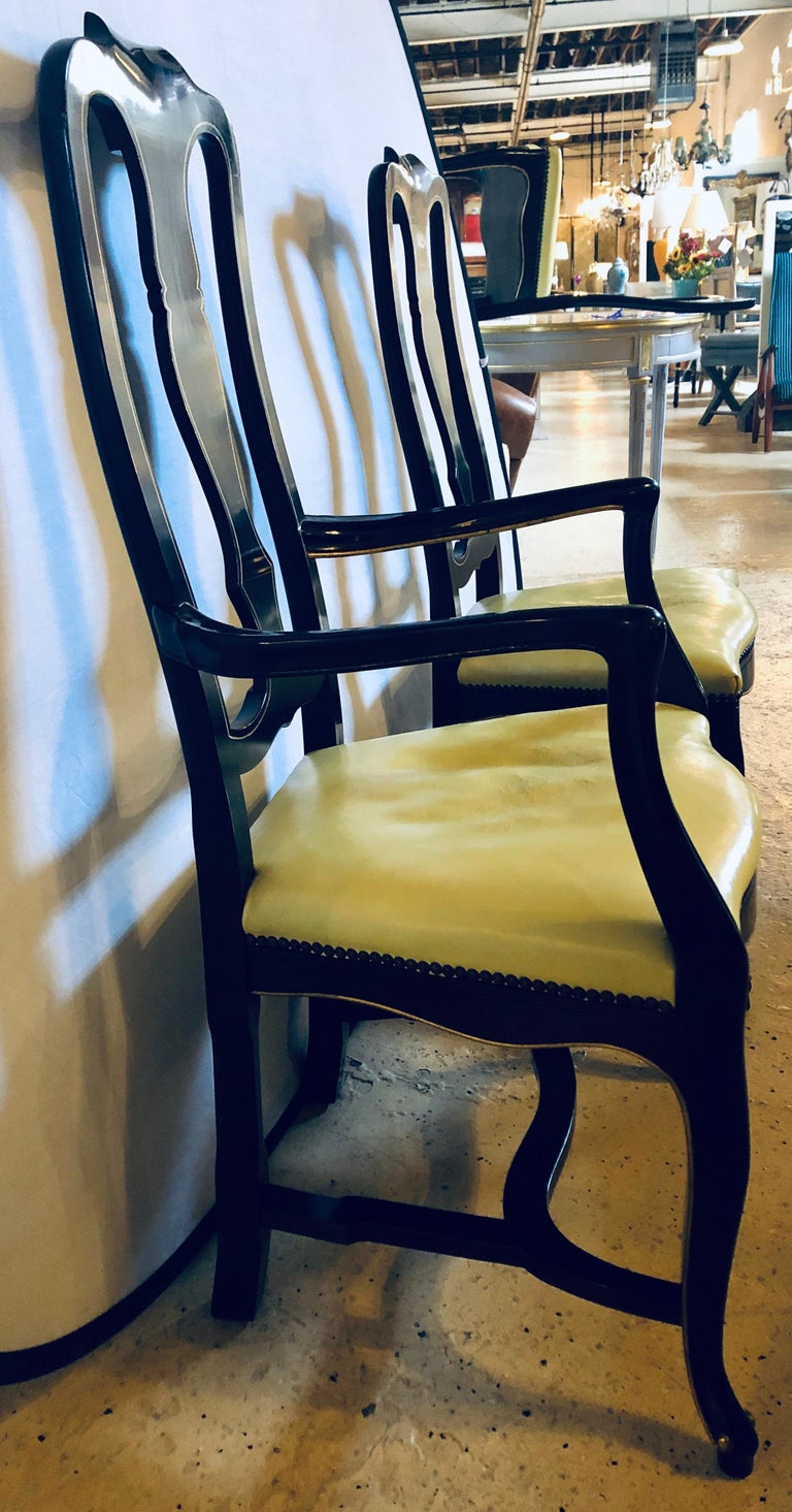 Set of Eight Queen Anne Style Ebonized and Gilt Decorated Dining Chairs For Sale 5