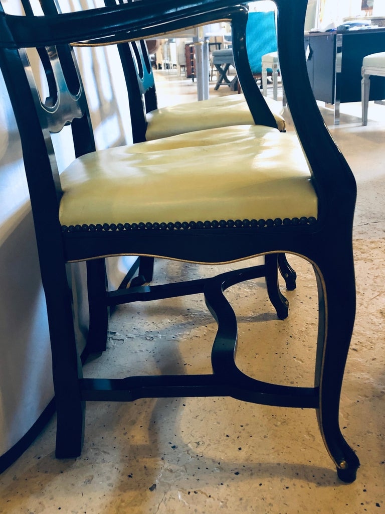 Set of Eight Queen Anne Style Ebonized and Gilt Decorated Dining Chairs For Sale 6