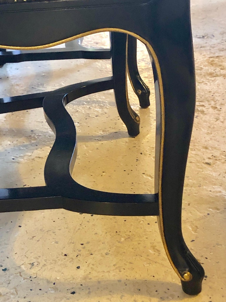 Set of Eight Queen Anne Style Ebonized and Gilt Decorated Dining Chairs For Sale 7