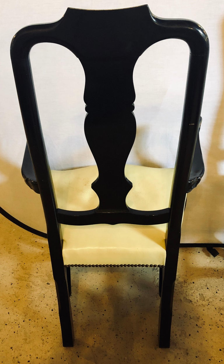 Set of Eight Queen Anne Style Ebonized and Gilt Decorated Dining Chairs For Sale 2