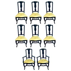 Set of Eight Queen Anne Style Ebonized and Gilt Decorated Dining Chairs