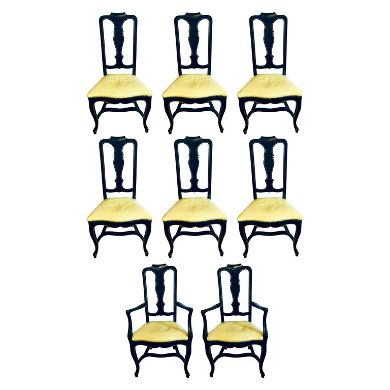 Set of Eight Queen Anne Style Ebonized and Gilt Decorated Dining Chairs For Sale