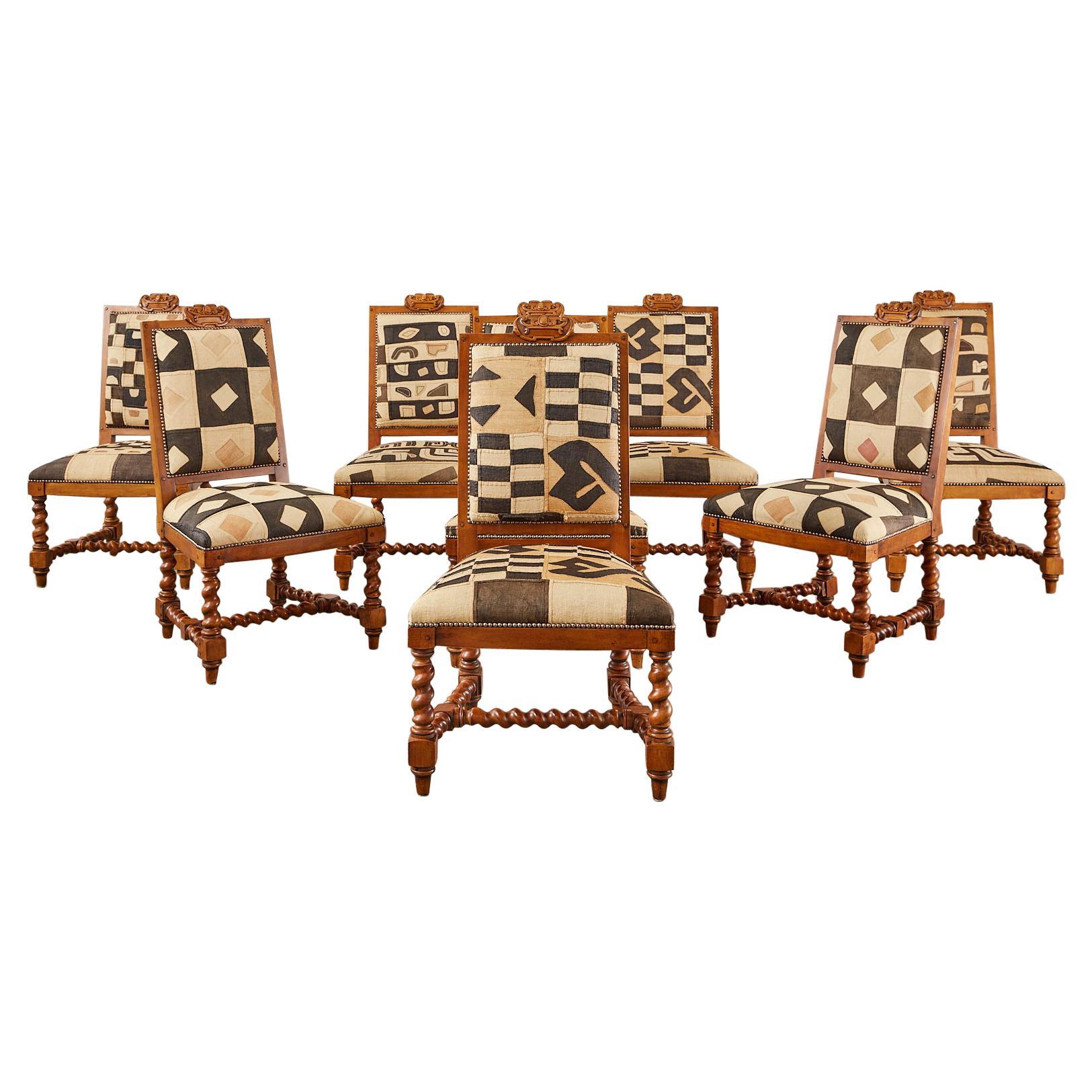 Set of Eight Ralph Lauren Barley Twist Dining Chairs