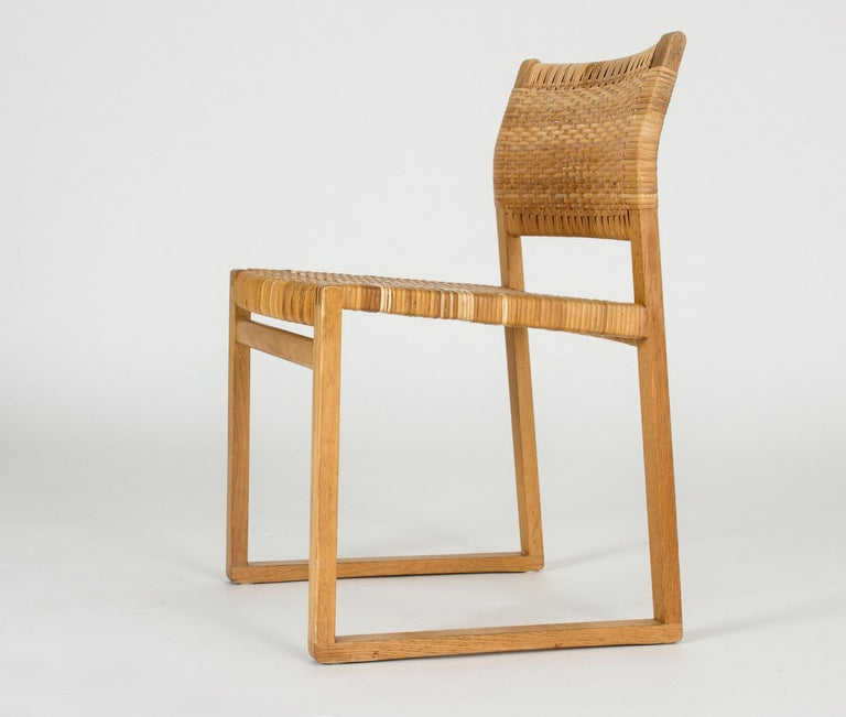 Mid-20th Century Set of Eight Rattan Dining Chairs by Børge Mogensen For Sale