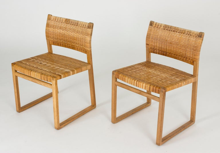 Set of Eight Rattan Dining Chairs by Børge Mogensen For Sale 1