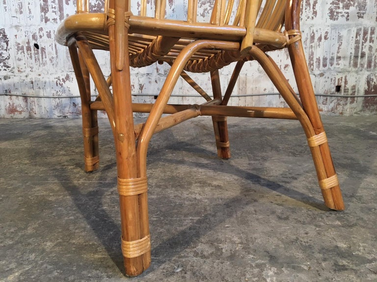 Set of Eight Rattan Fan Back Dining Chairs For Sale 5