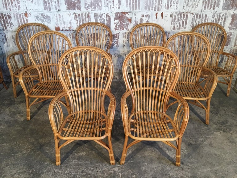 Organic Modern Set of Eight Rattan Fan Back Dining Chairs For Sale