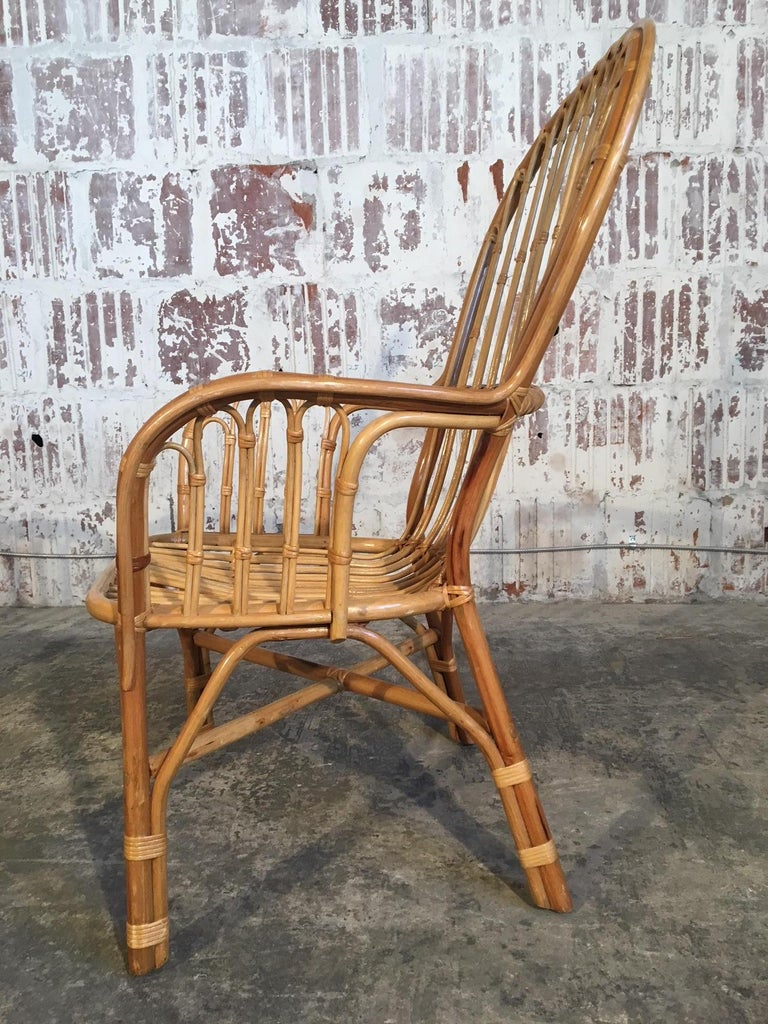 Late 20th Century Set of Eight Rattan Fan Back Dining Chairs For Sale