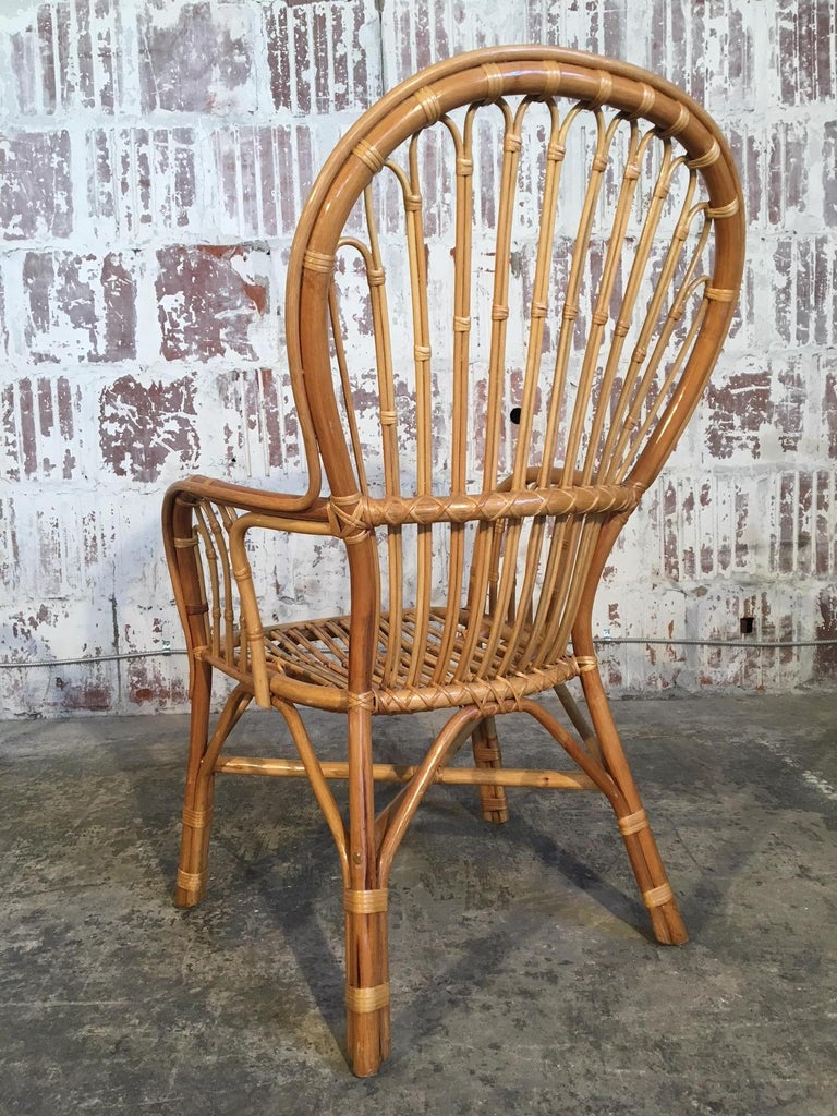 Bamboo Set of Eight Rattan Fan Back Dining Chairs For Sale