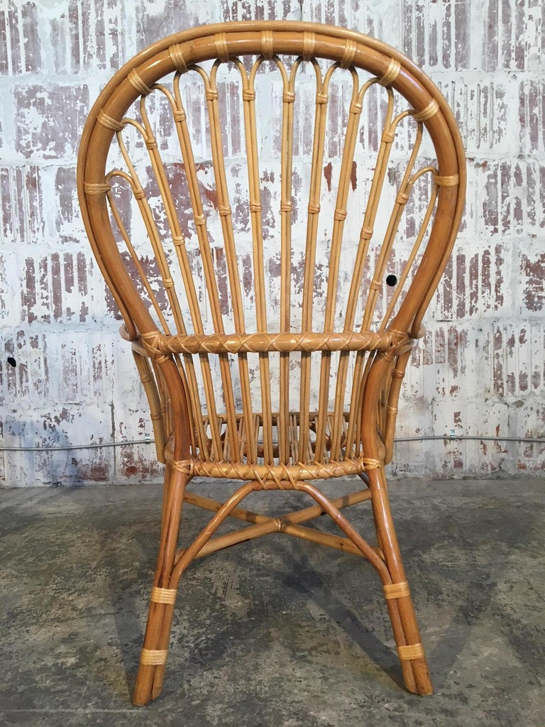 Set of Eight Rattan Fan Back Dining Chairs For Sale 1