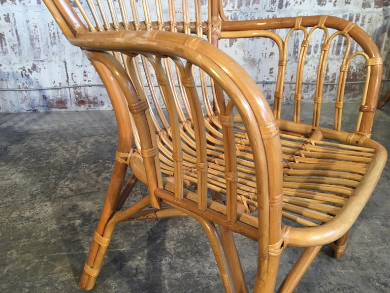 Set of Eight Rattan Fan Back Dining Chairs For Sale 2