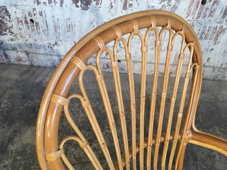 Set of Eight Rattan Fan Back Dining Chairs For Sale 3