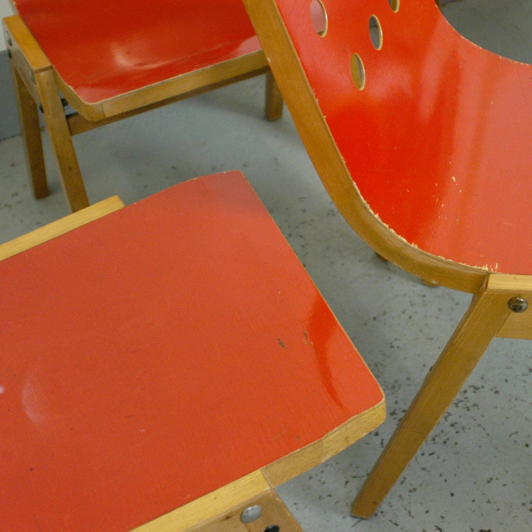 Set of Eight Red Austrian Midcentury Roland Rainer Stacking Chairs 10