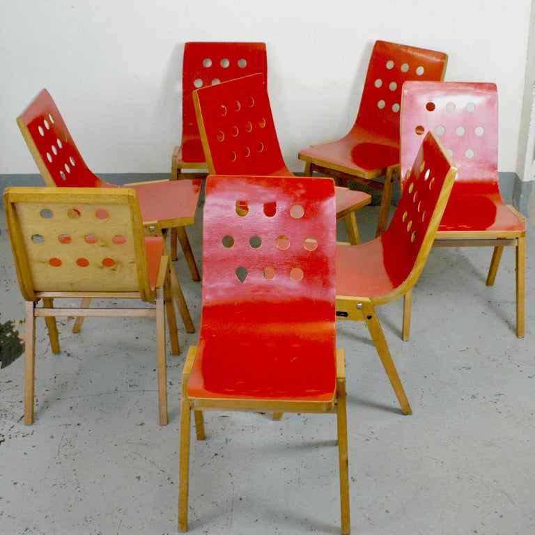 Set of Eight Red Austrian Midcentury Roland Rainer Stacking Chairs 2