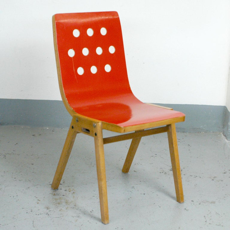 Set of Eight Red Austrian Midcentury Roland Rainer Stacking Chairs 3