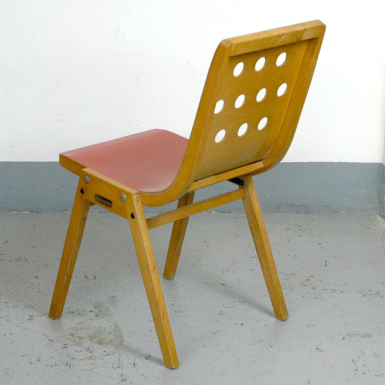 Set of Eight Red Austrian Midcentury Roland Rainer Stacking Chairs 6