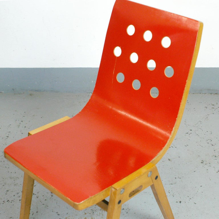 Set of Eight Red Austrian Midcentury Roland Rainer Stacking Chairs 8