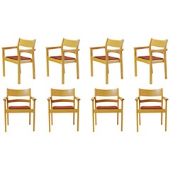 Set of Eight Refinished Hans J. Wegner Armchairs in Beech, Choice of Upholstery