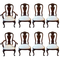Set of Eight Regal Queen Anne Style Mahogany Dining Chairs