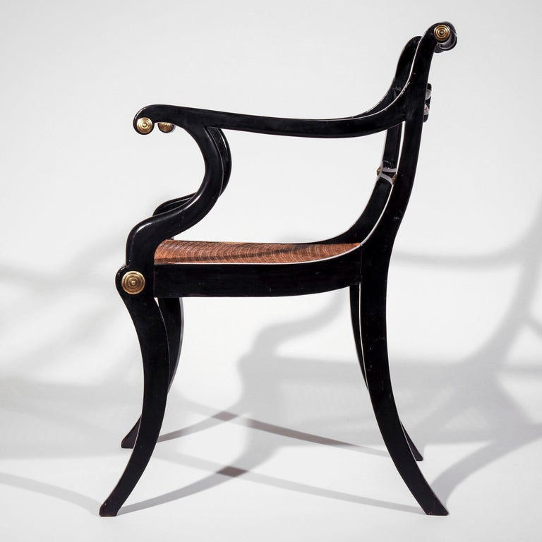 Set of Eight Regency Black Lacquer Gilt-Brass Mounted Klismos Dining Chairs For Sale 11
