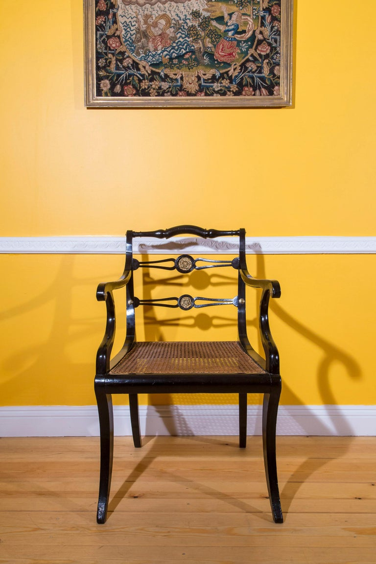 Set of Eight Regency Black Lacquer Gilt-Brass Mounted Klismos Dining Chairs For Sale 10