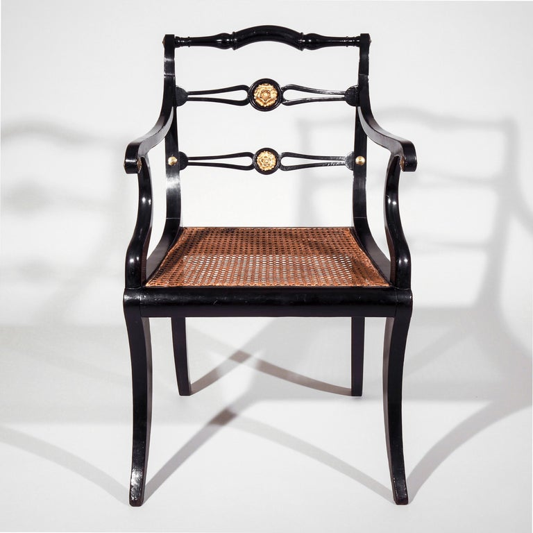 19th Century Set of Eight Regency Black Lacquer Gilt-Brass Mounted Klismos Dining Chairs For Sale