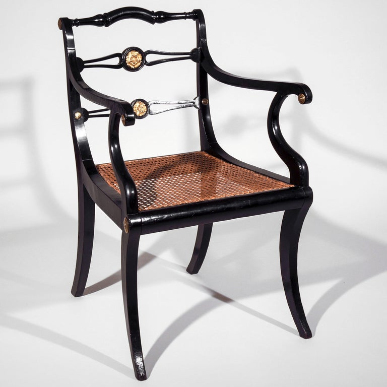 Set of Eight Regency Black Lacquer Gilt-Brass Mounted Klismos Dining Chairs For Sale 2