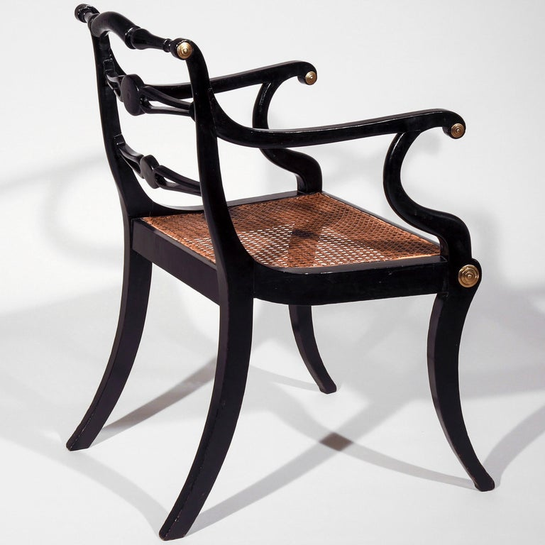 Set of Eight Regency Black Lacquer Gilt-Brass Mounted Klismos Dining Chairs For Sale 4
