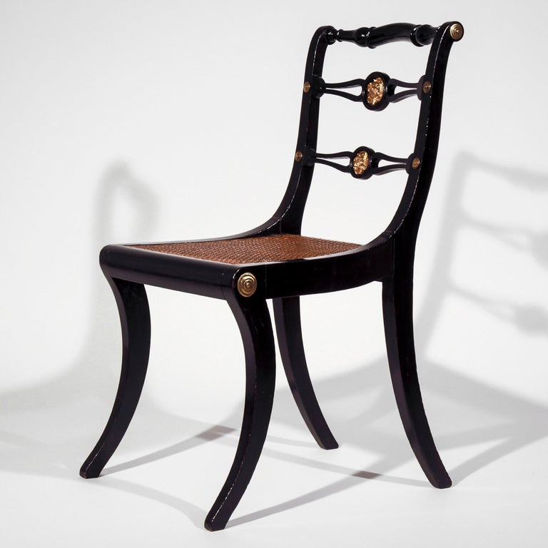 Set of Eight Regency Black Lacquer Gilt-Brass Mounted Klismos Dining Chairs For Sale 8