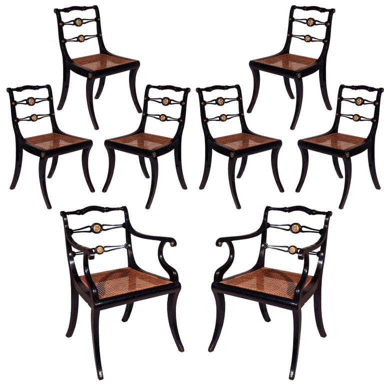 Set of Eight Regency Black Lacquer Gilt-Brass Mounted Klismos Dining Chairs For Sale